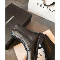 最新網紅同款ANN黑色真皮厚底百搭騎士機車靴