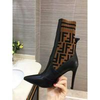 意大利代购Fendi芬迪尖头针织拼接高筒高跟靴