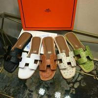 Hermes愛馬仕 早春爆款 鴕鳥紋系列拖鞋