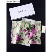 Gucci古奇專柜新款花卉圖案羊絨長巾