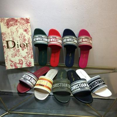 Dior 2020 迪奥 logo电脑绣帆布平底拖鞋批发
