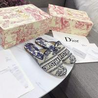 Dior 迪奧 帆布電腦刺繡DIORBABY-D迪奧20ss春夏拖鞋平底鞋